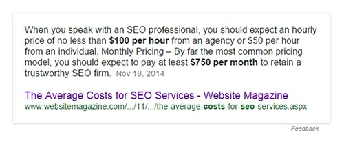 Cost of SEO services