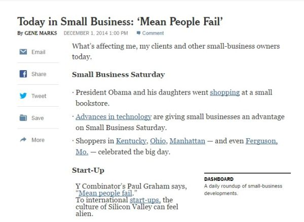 Today in Small Business Mean People Fail The New York Times