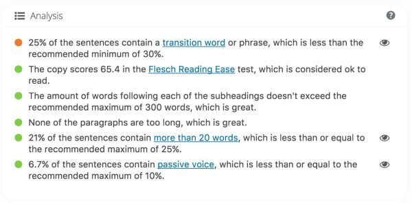 Here is the screenshot of Yoast's Readability analysis from the WordPress post page.