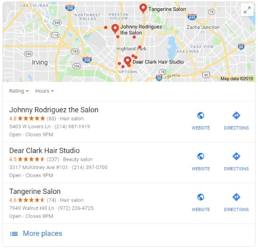 google map pack examples