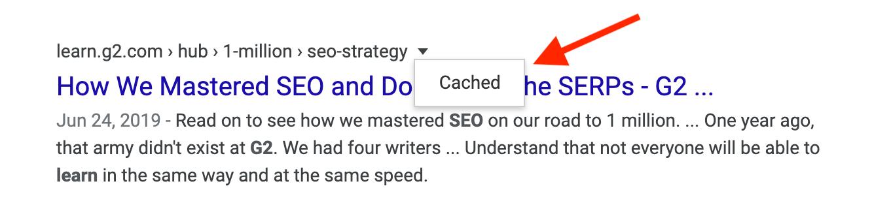 contenido en caché google
