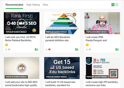 Cheap SEO services gigs on Fiverr.